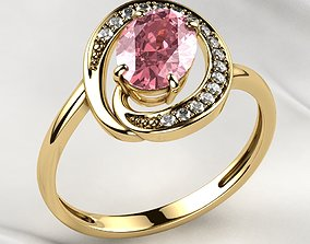 Pink Sapphire Oval Gold Ring 3D print model