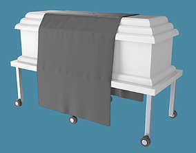 3D Casket or coffin with table and draped cloth