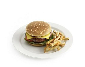 3D Cheeseburger With Fries