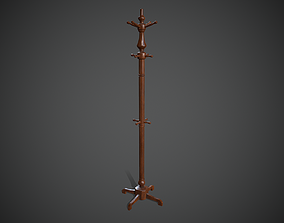 3D asset Wooden Coat Rack Stand