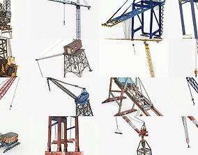 3D 19 Lowpoly Industrial Cranes