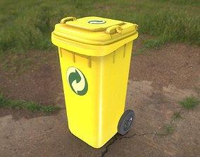 Yellow Plastic Waste Bin 120 Liters 936x550x482 3D model