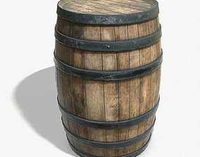 Wooden Barrel Game Ready PBR Textures Low Poly 3D asset