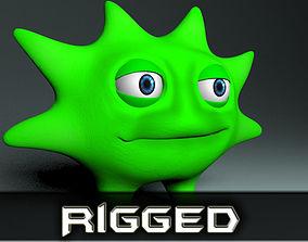 3D model Lowpoly cartoon virus