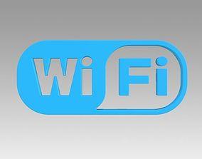 3D model Wifi wireless internet logo technology