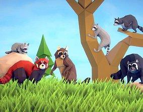Poly Art Raccoons and Red Panda 3D model