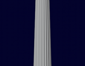 3D model Ancient Column Internally Rounded
