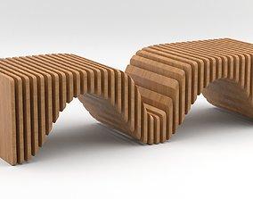3D exterior Parametric wooden bench