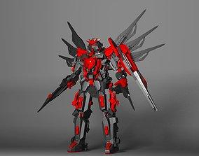 red gundam 3D asset
