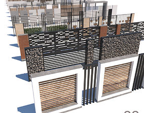 modern fence collection 3D model