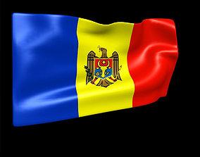 3D model banner Moldova flag animated