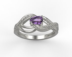 jewellery-ring Women ring with gems 3dm stl printable