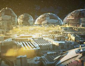Sci Fi City 3D asset low-poly