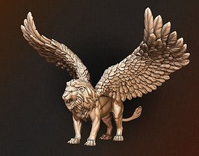 with 3D printable model Winged Lion