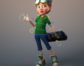 Cartoon Boy Rigged hair 3D