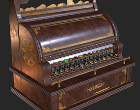 3D asset Old Antique Cash Register PBR
