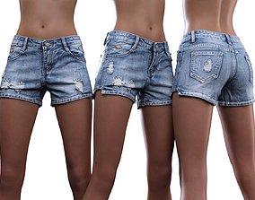 3D model Ripped Mini Jeans Shorts