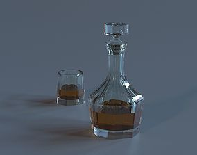 decanter with glass 3D