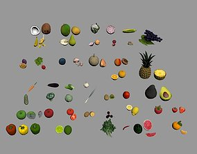 fruits and vegetables 3D asset low-poly
