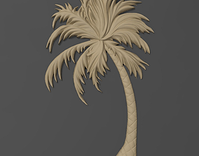 Palm tree bas relief bas relief for CNC 3D printable model