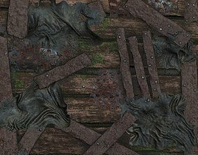 Seamless old wooden postapocalyptic wall texture 3D model