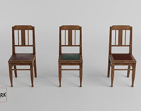 3D Model historic low Poly chair 01 game-ready