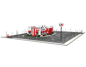 mc 3D model KFC Building and parking