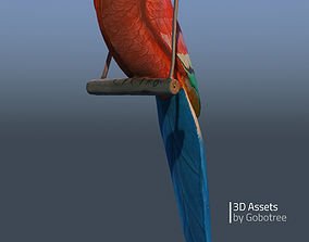 3D model Vintage wooden parrot Domi