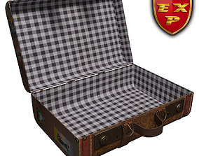 Old suitcase open 3D model