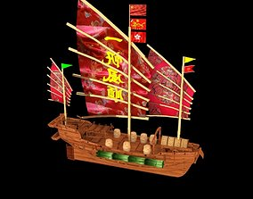 3D model realtime Chinese junk ship