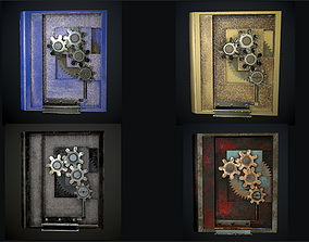 3D asset Steampunk book low poly 4 texture options