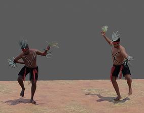 3D Australian Aboriginal Men Dancing animated