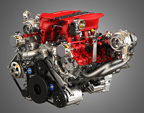 3D model 488 GTB Engine - V8 Twin Turbo Engine