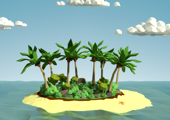 Desert Island Low Poly Project