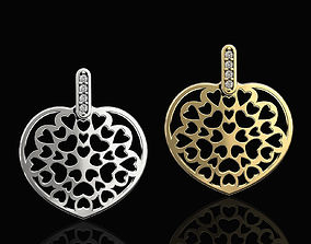 Hearts in Heart Pendant 3D printable model jewelry