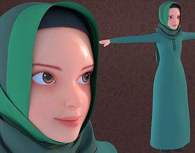 Cartoon Girl with Hijab 3D model