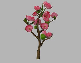 3D model Tree branch with rose flowers and leaves 1