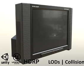 3D model 2000s CRT TV Black