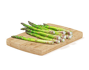 3D Asparagus on Wooden Board