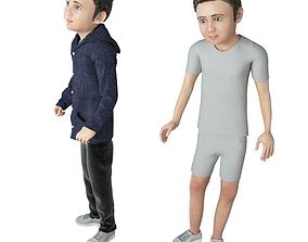3D model Boy real cloth simulation conversation loop 1