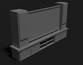 LCD TV stand and stereo speakers 3D asset