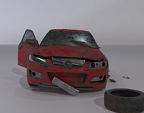 Wrecked destroyed Sedan car 3D