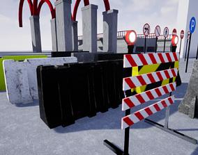 3D asset Road Blocker Pack Game Ready