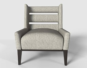 Upholstery chair with wood finish 3D model