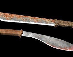 Two machete 3D asset