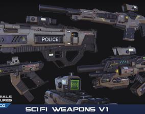 PBR SciFi Weapons v1 3D asset low-poly