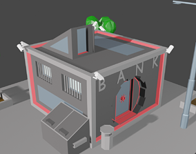 Bank Building 3D model low-poly