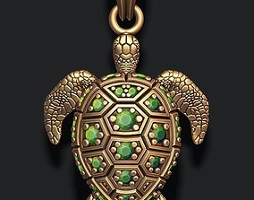 turtle pendant with gems 3D print model