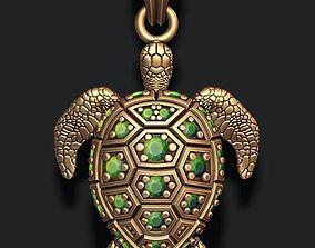 3D print model turtle pendant with gems
