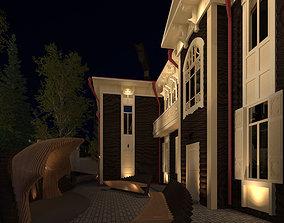 3D model of parametric design scene for museum backyard